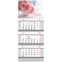 """Календарь квартальный 3 бл. на 3 гр. OfficeSpace """"Tender flowers"""", 2022г."""
