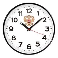 Часы настенные ход плавный, Troyka , круглые, 30*30*5, черная рамка