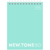 "Блокнот А5 80л. на гребне Hatber ""NEWtone Pastel. Мята"", 80г/м2, пластиковая обложка"