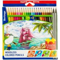 """Карандаши цветные пластиковые Berlingo """"Корабли"""", 24цв.+2 ч/г HB, заточен., картон, европодвес"""