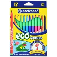 """Фломастеры Centropen """"ECO Markers"""", 12цв., трехгранные, смываемые, картон., европодвес"""