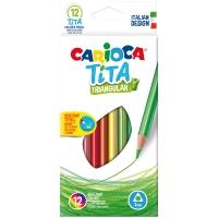 """Карандаши пластиковые Carioca """"Tita"""", 12цв., трехгран., заточен., картон, европодвес"""