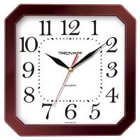 Часы настенные ход плавный, Troyka , квадратные, 29*29*3,5, бордовая рамка