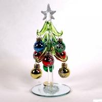 Елка стеклянная с 9 шарами 1,8 см  7*15 см