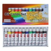 Краски масляные 12цв в металл тубе 12мл в картонной коробке
