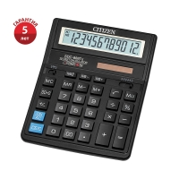 Калькулятор настольный Citizen SDC-888TII, 12 разрядов, двойное питание, 158*203*31мм, черный