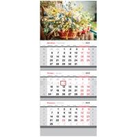 """Календарь квартальный 3 бл. на 3 гр. OfficeSpace """"Летние цветы"""", 2022г."""