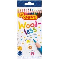 """Карандаши цветные пластиковые JOVI """"Wood-less"""", 12цв., трехгран., заточен., картон, европодвес"""