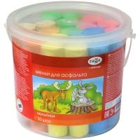 """Мелки цветные для асфальта Гамма """"Мультики"""", 20шт., 6цв., круглые, пластиковое ведро"""