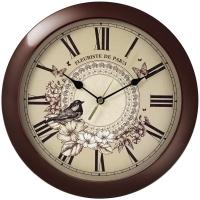 Часы настенные ход плавный, Troyka , круглые, 29*29*3,5, бордовая рамка