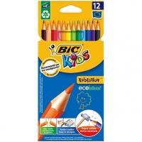 """Карандаши цветные BIC """"Kids ECOlutions Evolution"""", 12 цв, пластиковые, заточ., европодвес, 82902910"""