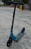 Двухколесный самокат City-Ride , дека алюминий анод., t-bar сталь, грипсы 135мм TPR, колеса PU 200/200, 86A, подножка, abec 9, цвет Голубой