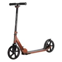Двухколесный самокат City-Ride , дека алюминий анод., t-bar сталь, грипсы 135мм TPR, колеса PU 200/200, 86A, подножка, abec 9, цвет Бронзовый