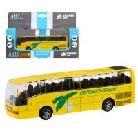 Автобус металл., масштаб 1:90, желтый, чип на русском языке, свет,  инерция, в/к 22*13,5*5,8 см