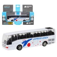 Автобус металл., масштаб 1:90, белый, чип на русском языке, свет, инерция, в/к 22*13,5*5,8 см