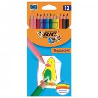 """Карандаши цветные BIC """"Tropicolors"""", 12 цв, пластиковые, заточенные, европодвес,"""