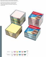 Блок д/заметок 90*90*50мм EK  2цв (белый,голубой) пластик.контейнер
