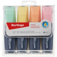 """Набор текстовыделителей Berlingo """"Textline HP200"""", 4цв., пастельные цвета, 1-5мм, европодвес"""