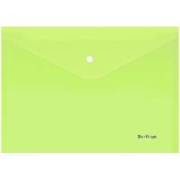 """Папка-конверт на кнопке Berlingo """"Starlight"""", А4, 180мкм, прозрачная салатовая, индив. ШК"""