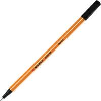 Ручка капиллярная 0,4мм Stabilo, желтый с белой полосой корпус, колпачек, цвет чёрный  (Stabilo)