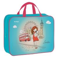 "Папка-сумка с ручками 350*265*80 Berlingo ""Girl in London"", А4, 1 отделение, текстиль, на молнии"