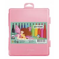 """Фломастеры Стамм """"Алиса"""", 12цв., смываемые, розовый пластик.пенал, европодвес"""