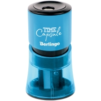 """Точилка пластиковая Berlingo """"TimeCapsule"""", 2 отверстия, контейнер, ассорти"""