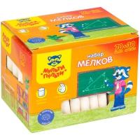 """Мелки цветные Мульти-Пульти """"Енот в школе"""", 70 бел. + 30 цв., 100шт., круглые, карт. коробка"""