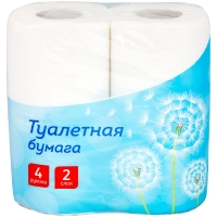 Бумага туалетная OfficeClean 2-слойная, 4шт., тиснение, белая