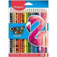 """Карандаши цветные Maped """"Color Peps Animals"""", 18цв., трехгран., заточен., картон, европодвес"""