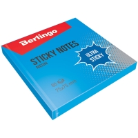 "Самоклеящийся блок Berlingo ""Ultra Sticky"", 75*75мм, 80л, синий неон"