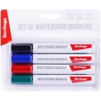 """Набор маркеров для белых досок Berlingo """"Uniline WB210"""", 4цв., пулевидный, 2мм, европодвес"""