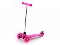 """Самокат трехколесный """"ButterFly"""", свет. колеса, цв. розовый, подшипн ABEC5. Алюминиевый руль. Колеса 120 и 80 мм, в/к, размер самоката 55*21,5*67см(Максимальная нагрузка: 25 кг)"""