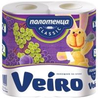 """Полотенца бумажные в рулонах Veiro """"Classic"""", 2-слойные, 12,5м/рул, тиснение, белые, 2шт."""