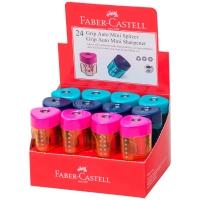 """Точилка пластиковая Faber-Castell """"Grip Auto Mini"""", 1 отверстие, контейнер, розов./оранж., бирюзов."""
