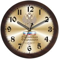 "Часы настенные ход плавный, Камелия ""Герб"", круглые, 29*29*3,5, коричневая рамка"