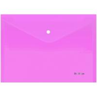 """Папка-конверт на кнопке Berlingo """"Starlight"""", А4, 180мкм, прозрачная розовая, индив. ШК"""