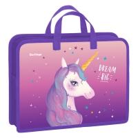 "Папка с ручками 340*245*75 Berlingo ""Dream Unicorn"", А4, 1 отделение, пластик, на молнии"