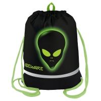 "Мешок для обуви 1 отделение Berlingo ""Alien"", 510*400мм, расшир. дно, светоотр. лента, карман на молни"