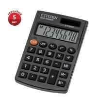 Калькулятор карманный Citizen , 8 разрядов, двойное питание, 62*98*10мм, черный