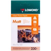 Бумага A6 (100*150) для стр. принтеров Lomond, 230г/м2 (50л) мат.одн.