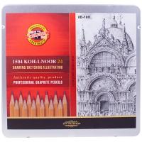 "Набор карандашей ч/г Koh-I-Noor ""1500"", 24шт., 8B-10H, заточен., метал. пенал"