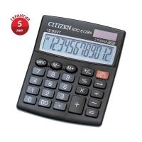 Калькулятор настольный Citizen SDC-812BN, 12 разрядов, двойное питание, 102*124*25мм, черный