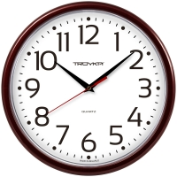 Часы настенные ход плавный, Troyka , круглые, 23*23*3, бордовая рамка