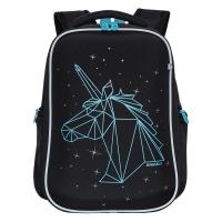 Рюкзак школьный /2 черный - голубой