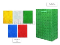 Пакет подарочный бум. голограф., 28х18х10 см, цвета золотой, серебристый, красный, синий, зеленый
