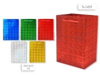 Пакет подарочный бум. голограф., 20х14х10 см, цвета золотой, серебристый, красный, синий, зеленый