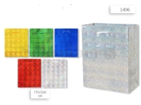 Пакет подарочный бум. голограф., 15х12х6 см, цвета золотой, серебристый, красный, синий, зеленый
