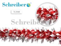 Растяжка фольгированная, цвет бело-красный, диаметр 25 см,дл. 2 м