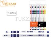 Набор шариковых ручек: чернила на масляной основе, белый пластиковый корпус, резиновый держатель (кольца), ассорти 10 цветов